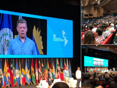 The President of Colombia, Juan Manuel Santos, speaking at today's opening ceremony for the 6th Regional Platform on Disaster Risk Reduction in the Americas