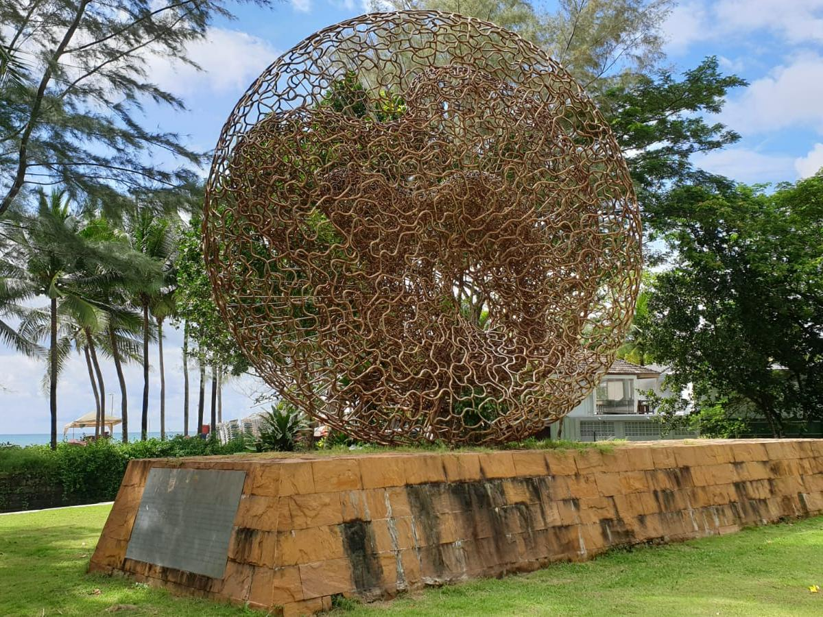 A sculpture at the tsunami memorial park at Kamala Beach in Phuket, Thailand, which was one of the areas hit by the 2004 Indian Ocean Tsunami.