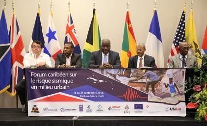 At the Caribbean Urban Seismic Risk Forum (from left): Mr. Arturo López-Portillo Contreras, ACS; Mr. Ronald Jackson, CDEMA; Mr. François Anick Joseph, Minister of the Interior and Local Authorities, Haiti,  Mr. Fritz Deshommes, State University of Haiti; Mr. Yves Fritz Joseph, National Laboratory of Building and Public Work of Haiti (Photo: UNDP Haiti)