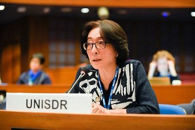 UNISDR head, Mami Mizutori, speaking at this week's 74th UN Economic and Social Commission for Asia and the Pacific (ESCAP)