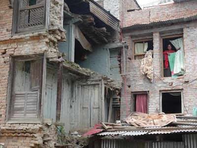 A partly repaired house in the historic Bungamati district of the Kathmandu Valley